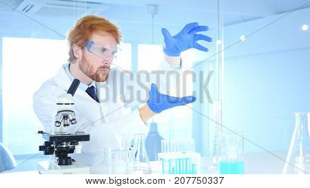 Scientist  Imaginating New Idea In Laboratory, Research Work