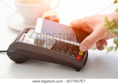 Mobile Payment In Cafe With Smart Phone
