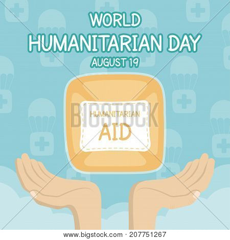 World Humanitarian Day, 19 August. Human aid parachute with human hands conceptual illustration vector.