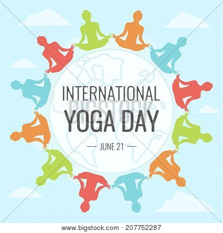 World Yoga Day, 21 June. People across globe doing asana illustration vector.