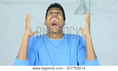 Going Crazy Angry Screaming Afro-American Man in Office