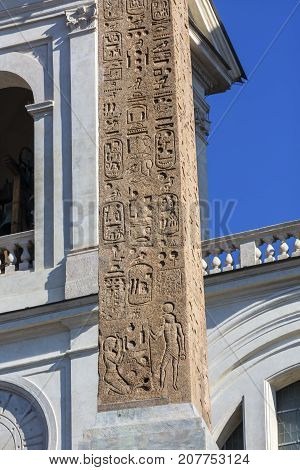 Egyptian Hieroglyphs Obelisk Sallustiano Trinita Dei Monti Church Spanish Steps Rome Italy. Obelisk originally from Egypt decorated Roman Imperial Garden. Erected front of church in 1789.