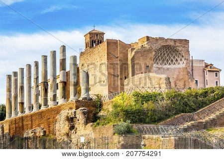 Temple of Venus and Rome Corinthian Columns Roman Forum Rome Italy. Largest temple in ancient Rome dedicated in 141AD by Emperor Hadrian