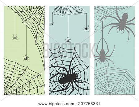 Spider web cards silhouette arachnid fear graphic flat scary animal poisonous design nature phobia insect danger horror tarantula halloween vector icon. Creepy warning symbol poison silhouette.