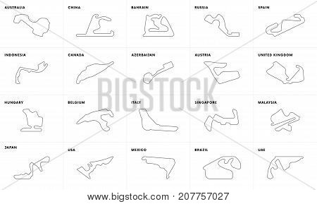Complete set of circuits for F1 2017 season. Vector illustration