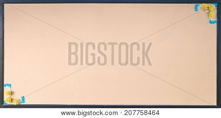 yellow wooden board . Free space for announcements and advertisements.