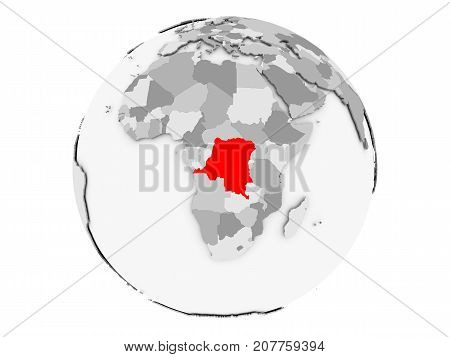 Democratic Republic Of Congo On Grey Globe Isolated