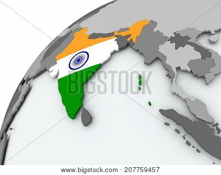 Flag Of India On Grey Globe