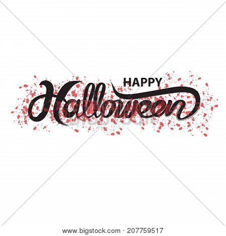 Halloween banner calligraphy.Halloween trick or treat party celebration.Happy Halloween vector lettering.Holiday calligraphy for bannerpostergreeting cardparty invitation.Vector illustration.