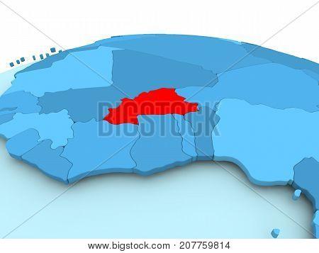 Burkina Faso On Blue Political Globe