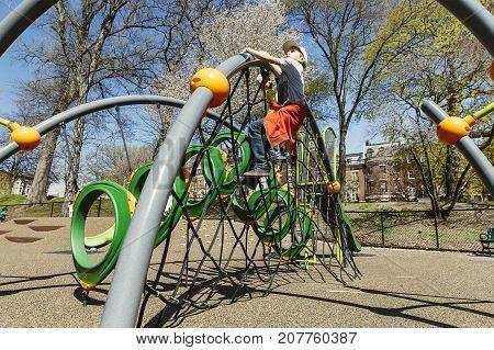 kids play on a climbing playground. children playground