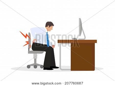 Businessman Suffering from Backache. Businessman at Work. Illustration