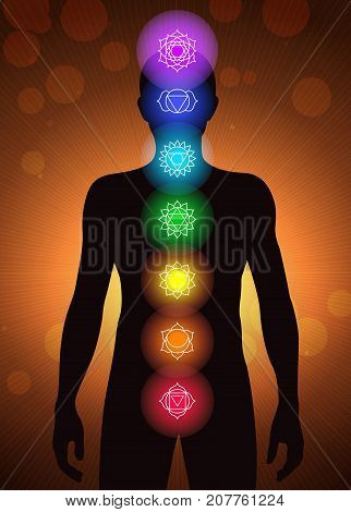 chakras location in human body vector, bright illustration