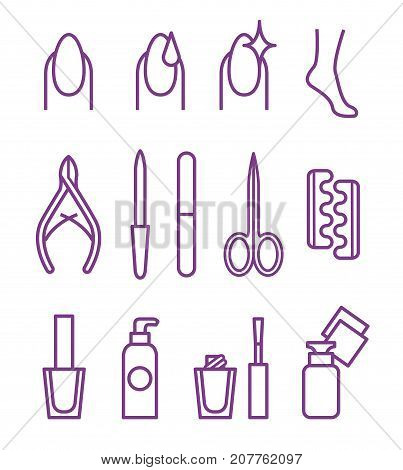 Nail Beauty Spa Manicure Vector Icon set