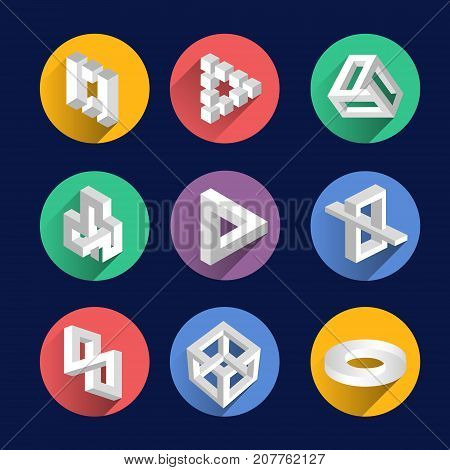Impossible shapes, optical illusion objects vector symbols set