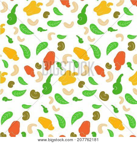 seamless background of a cashew nut. Shelled walnuts whole cashews half and leaves on a white background.