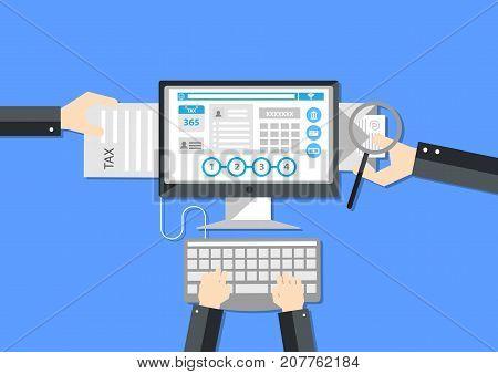 Tax payment online flat design elements illustration