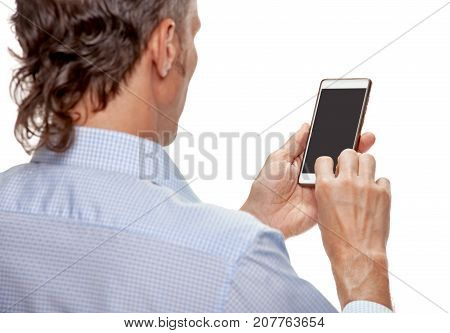 Back view of modern man using his new smartphone