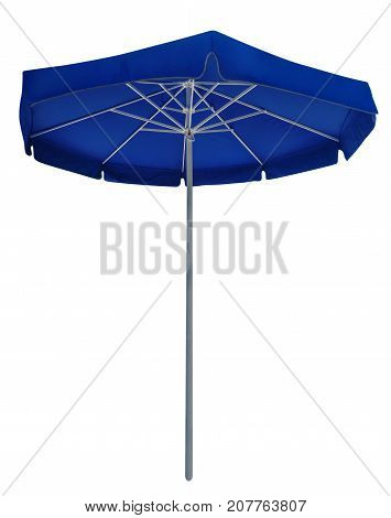Big blue beach umbrella isolated on white. Clipping path included.