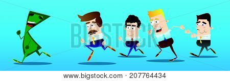 Business office workers running after a terrified banknote. Vector cartoon illustration.