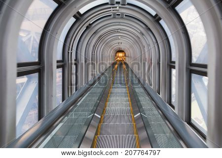 Escalator stairs tunnel city perspective downtown cityscape background