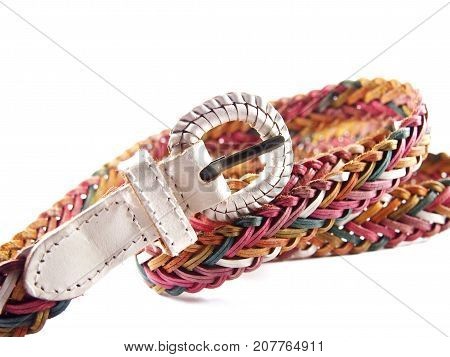 White buckle with pink tone of woven belt, modern fashion design isolated on white background