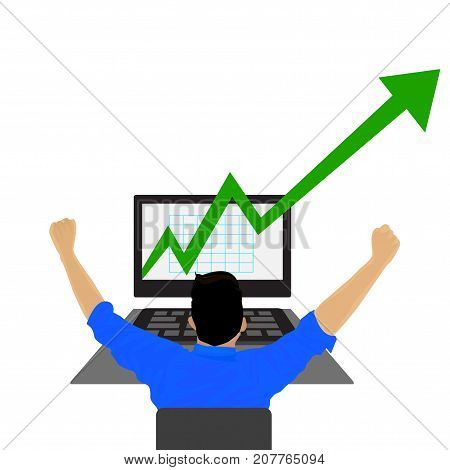 Young businessman looking at a stock market graph with growth arrow vector.