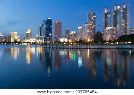 City office building blurred bokeh light abstract background