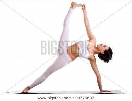 woman in yoga asana - Side Plank pose