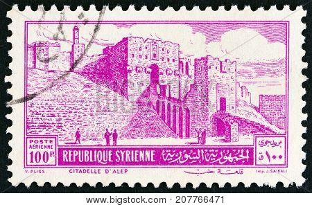 SYRIA - CIRCA 1952: A stamp printed in Syria shows Citadel, Aleppo, circa 1952.