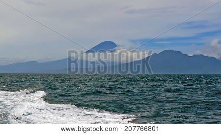 Mount Agung on Bali in Indonesia from the Bali Sea