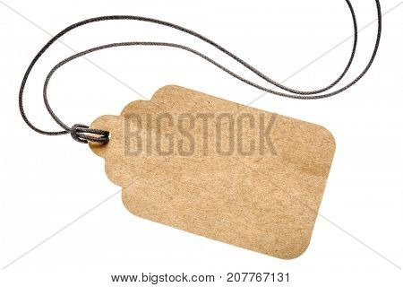 blank paper price tag with a twine isolated on white