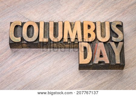 Columbus Day word abstract in vintage letterpress wood type