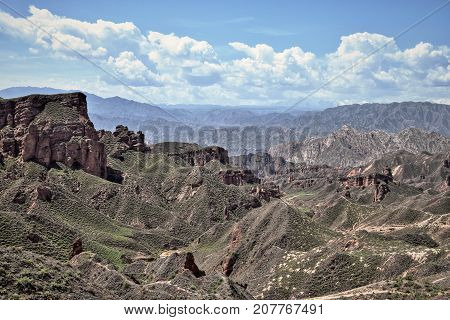 Binggou Danxia landform at Zhangye Danxia national geo park in Gansu province in China.