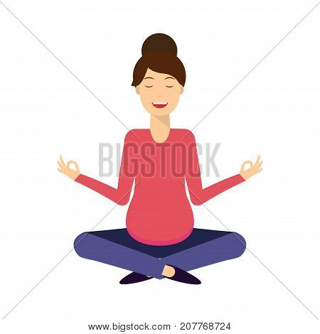 Yoga smiling pregnant woman in lotus meditative pose. Woman meditating and relaxing. Isolated on white.