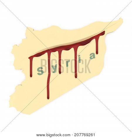 3d rendering of symbolic 3D model of bleeding Syria.