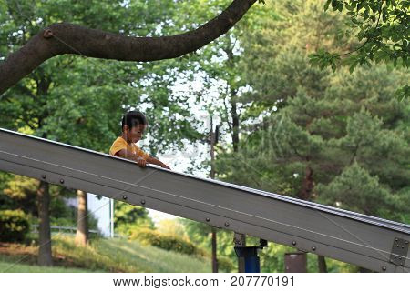 Japanese Boy On The Slide (3 Years Old) (summer)