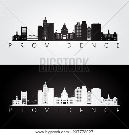 Providence usa skyline and landmarks silhouette black and white design vector illustration.