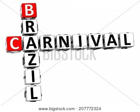 3D Brazil Carnival Crossword Over White Background.