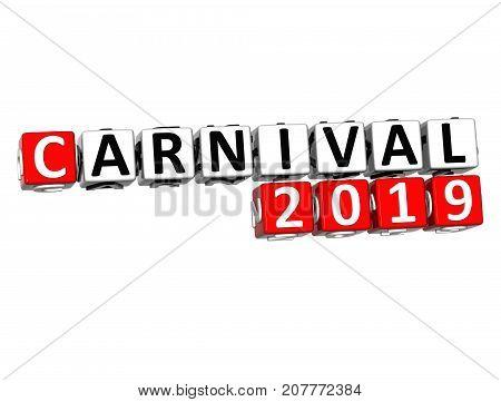 3D Carnival 2019 Crossword Over White Background.