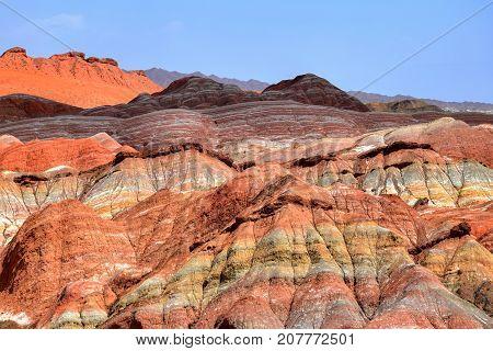 Colorful landscape of Rainbow mountains at Zhangye Danxia national geopark, Gansu province, China.