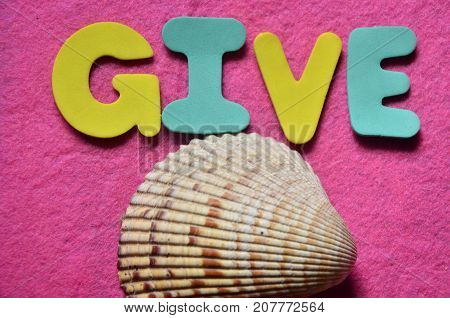 the word give on a  abstract colored background