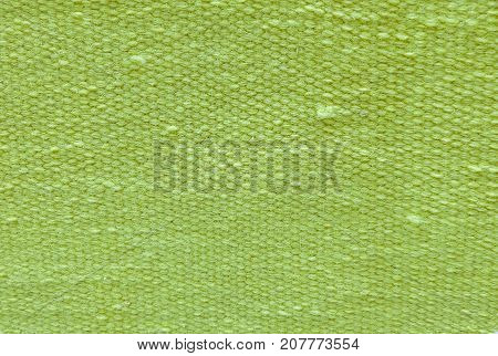 Fabric Texture Close Up of Green Cotton Pattern Background with Copy Space for Text Decoration.