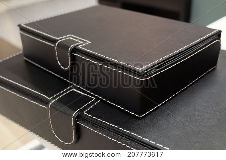 Stack of Office Organize Boxes or Archive Boxes Used for Storing Paper Media and Accessories.