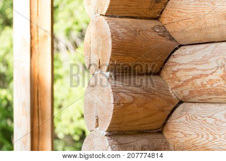 wooden wall with log . Photo of abstract background