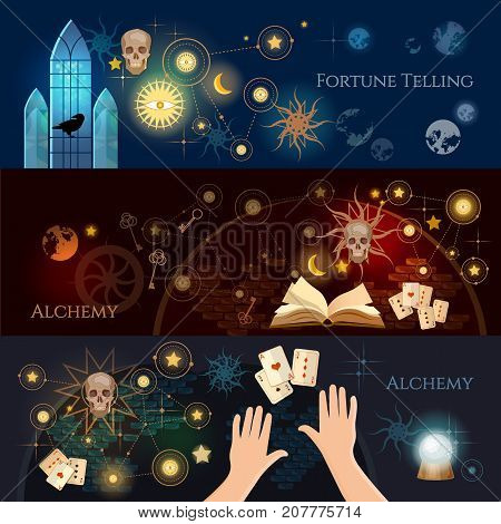 Fortune telling banner. Vintage key magic objects and scrolls alchemy concept. Medieval alchemy mysticism occultism esotericism. Medieval castle of wizard
