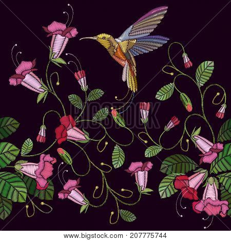 Embroidery flowers bells and humming bird seamless pattern. Beautiful cornflowers and humming bird classical embroidery pattern. Fashionable template for design of clothes