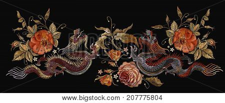 Embroidery two chinese dragons and roses flowers. Classical embroidery asian dragons and beautiful red roses vector. Art dragons t-shirt design. Clothes textile design template