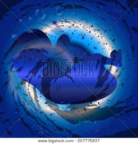 A dark blue background beneath a fetus silhouette