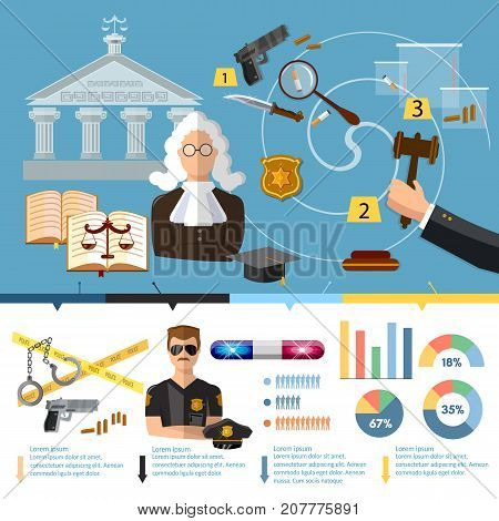 Justice system infographics. Law infographics set with court and judical system elements vector illustration. Courthouse crime and punishment